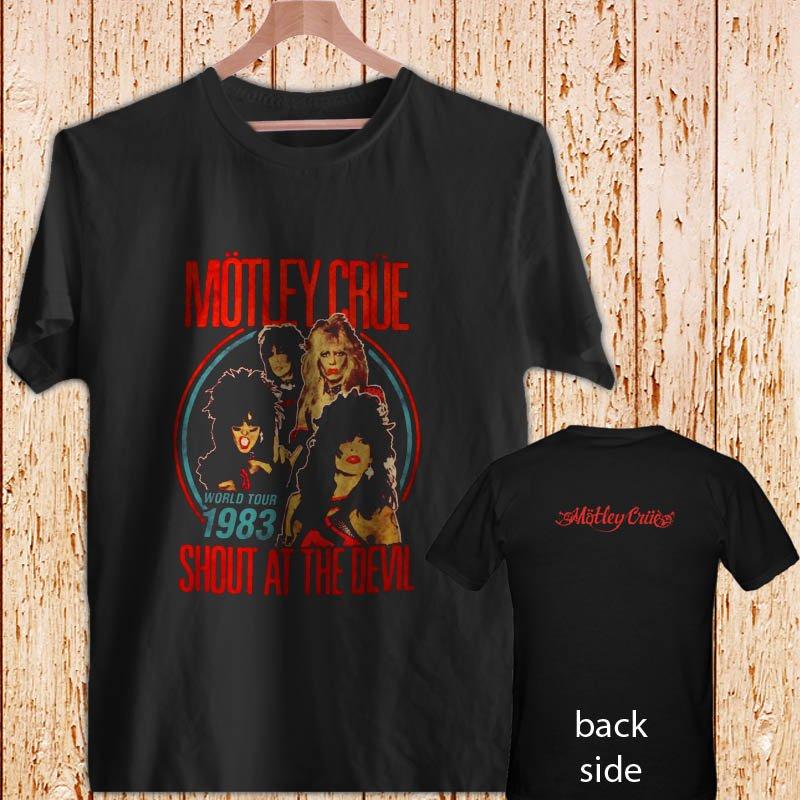 2 Side Motley Crue World Tour South At The Devil black t-shirt tshirt shirts tee SIZE S