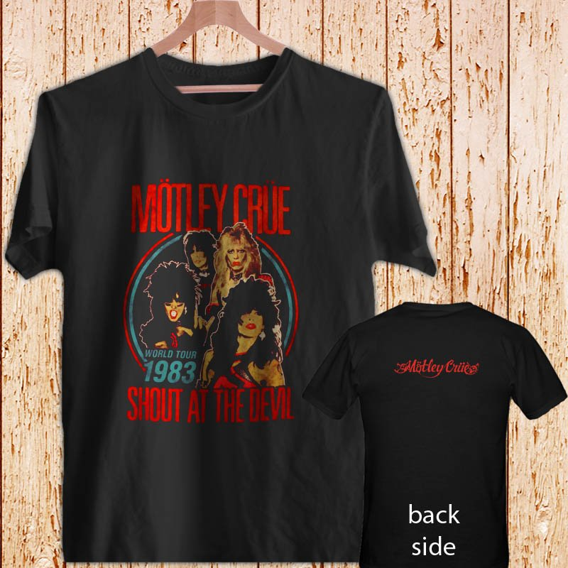2 Side Motley Crue World Tour South At The Devil black t-shirt tshirt shirts tee SIZE L