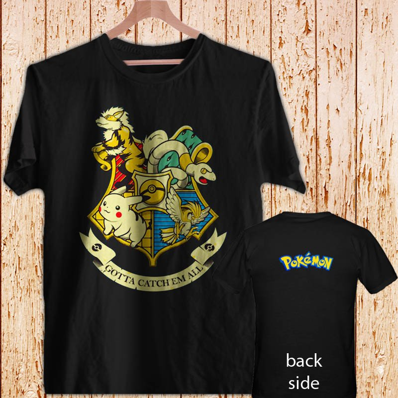 Pikachu Pokemon Hogwarts Logo Harry Potter black t-shirt tshirt shirts tee SIZE M