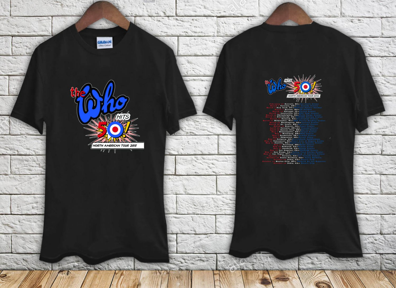 The Who North American Tour 2016 black t-shirt tshirt shirts tee SIZE L