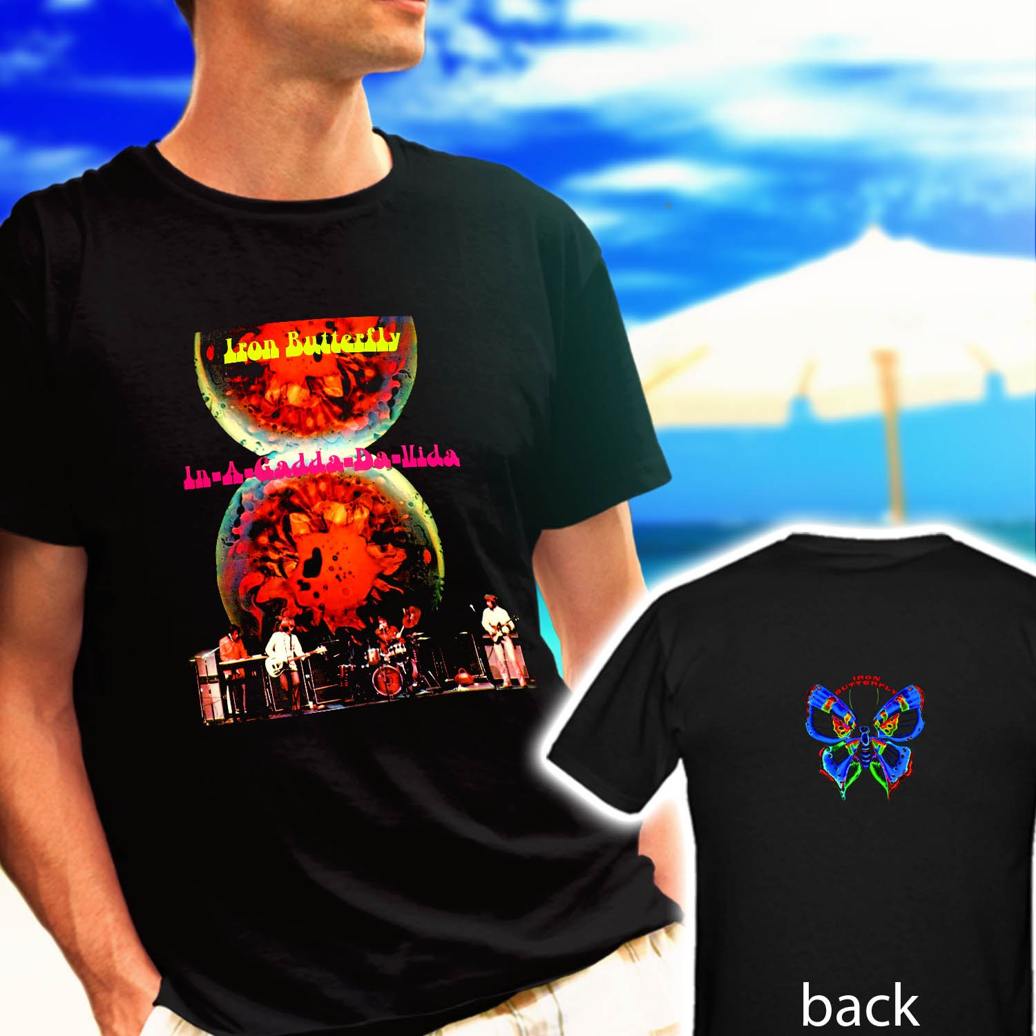 IRON BUTTERFLY In a gadda da vida black t-shirt tshirt shirts tee SIZE M