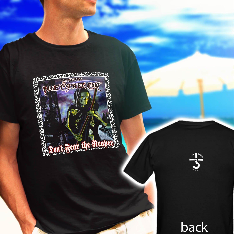 "BOC BLUE OYSTER CULT ""Reaper"" Logo Rock Band black t-shirt tshirt shirts tee SIZE L"