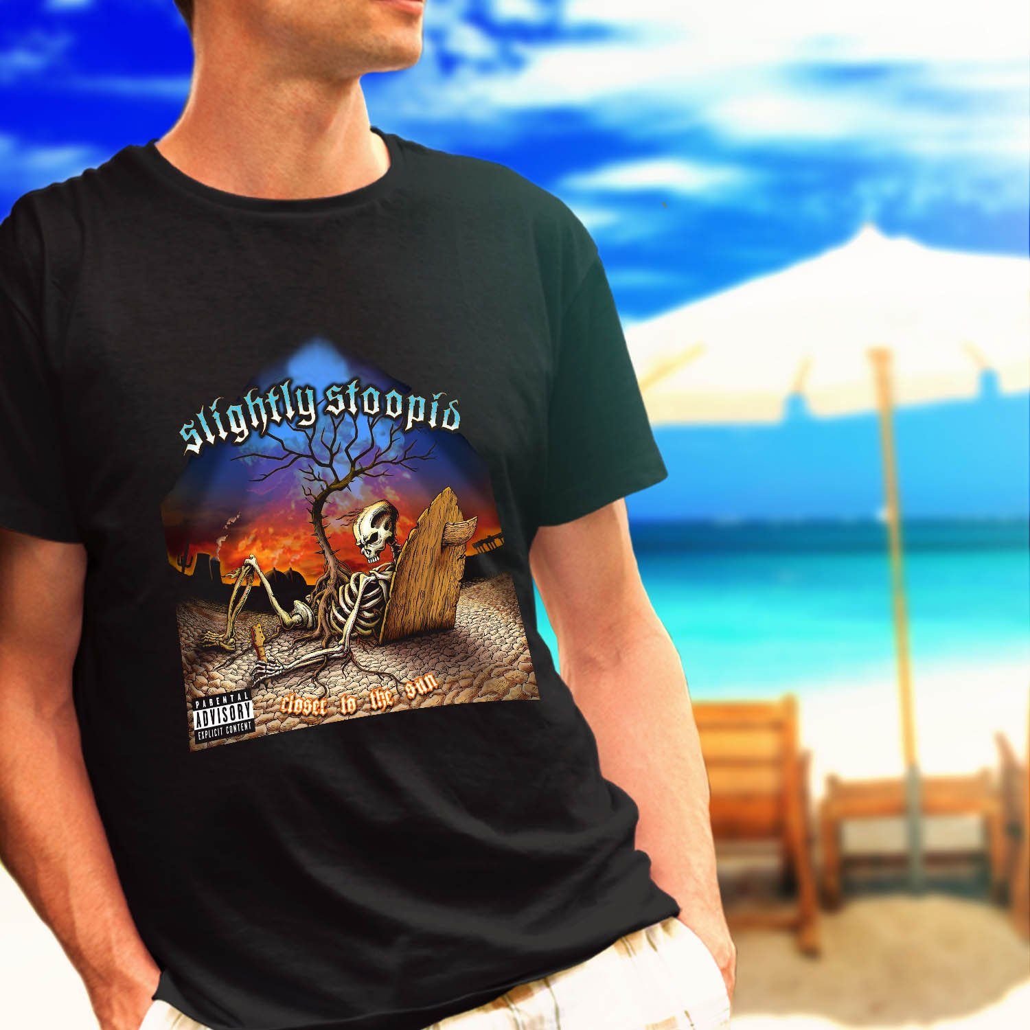 SLIGHTLY STOOPID close to the sun skull black t-shirt tshirt shirts tee SIZE S
