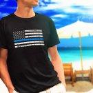 Police Thin Blue Line Flag black t-shirt tshirt shirts tee SIZE S