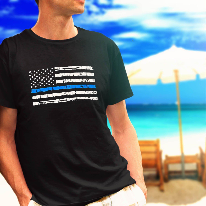 Police Thin Blue Line Flag black t-shirt tshirt shirts tee SIZE M
