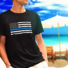Police Thin Blue Line Flag black t-shirt tshirt shirts tee SIZE L