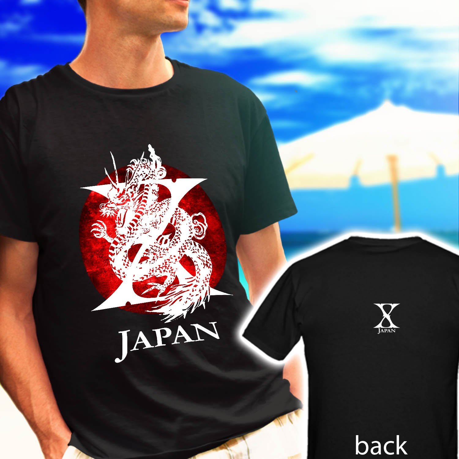 X Japan Yoshiki Toshi Hide heavy metal TOUR black t-shirt tshirt shirts tee SIZE 2XL