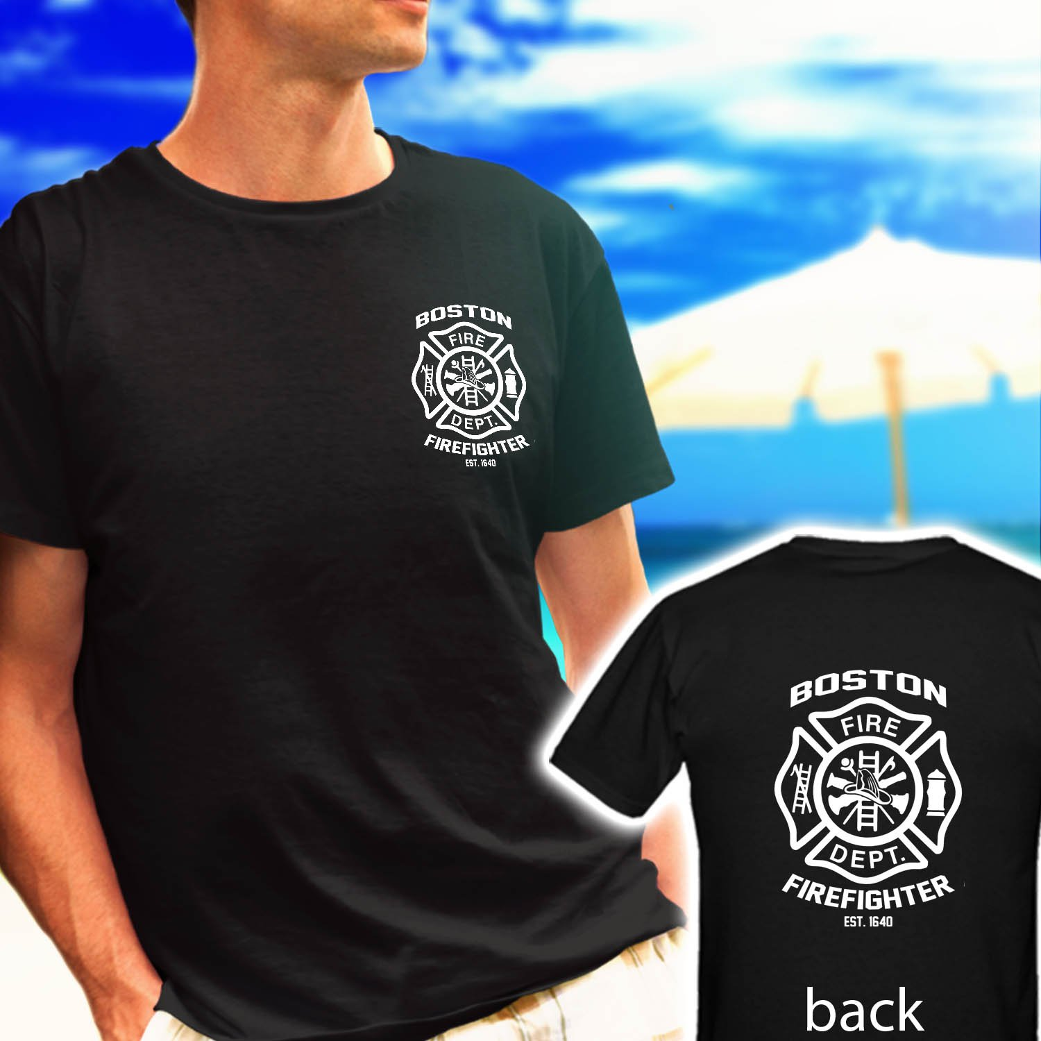 boston firefighter fire department est 1640 black t-shirt tshirt shirts tee SIZE XL
