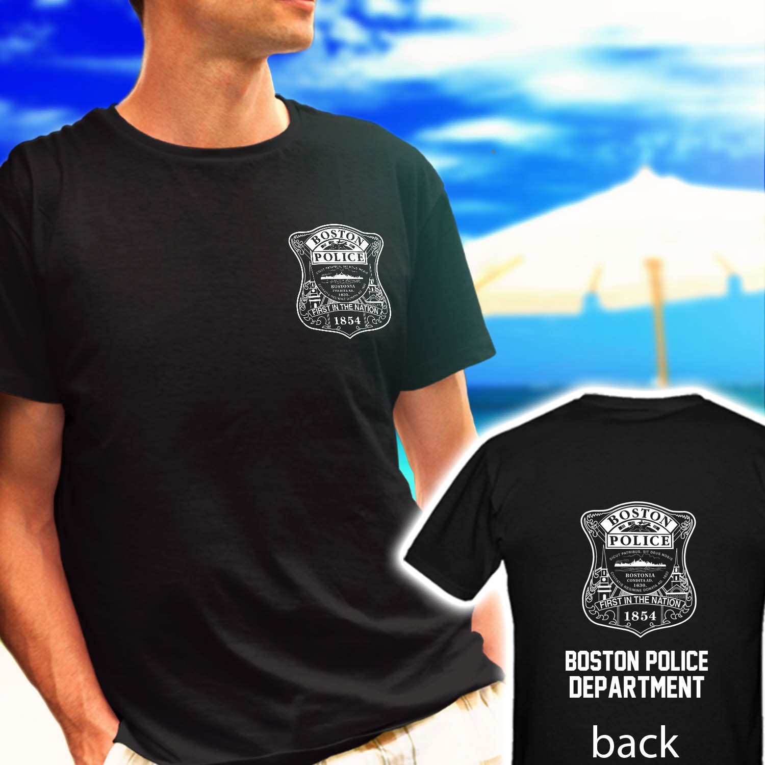 BOSTON POLICE DEPARTMENT logo badge black t-shirt tshirt shirts tee SIZE 2XL