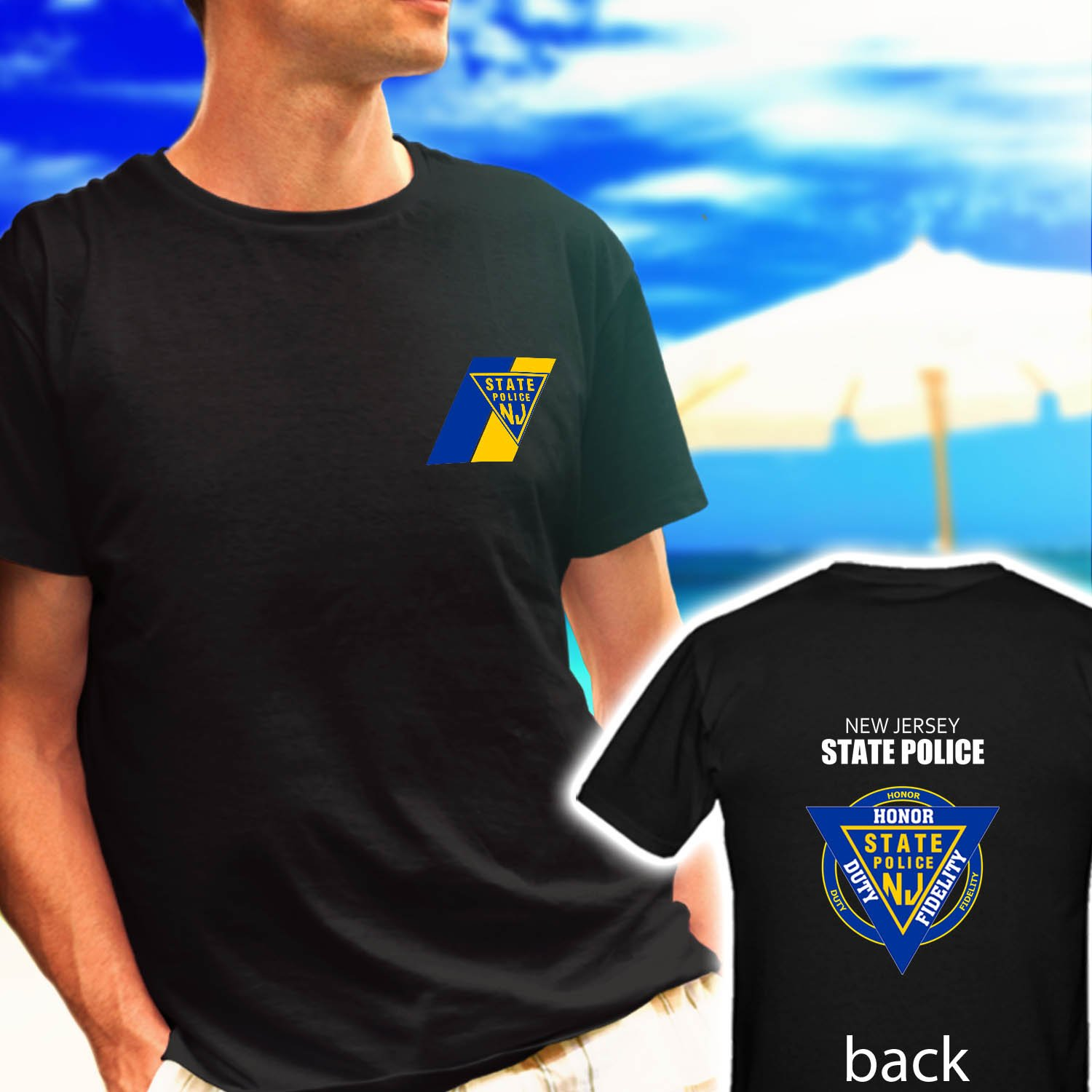 NEW JERSEY STATE POLICE HONOR DUTY FIDELITY black t-shirt tshirt shirts tee SIZE S