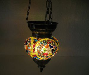 Colorful moroccan lantern mosaic hanging lamp light candle lampe mosaiqe hg 82
