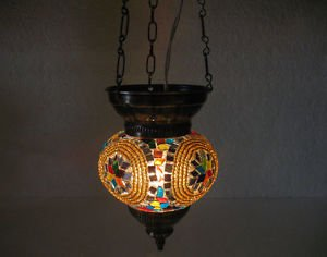 Colorful moroccan lantern mosaic hanging lamp light candle lampe mosaiqe hg 79