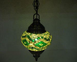 Electrical green mosaic hanging lamp glass candle holder lampe mosaique hg 101