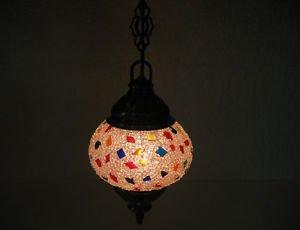 Electrical mosaic hanging lamp glass lantern candle holder lampe mosaique hg 93