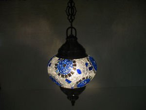 Electrical blue mosaic hanging lamp glass candle holder lampe mosaique hg 98