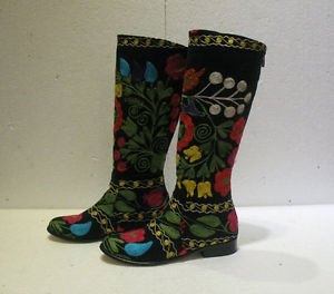 Suzani boots handmade shoes embroidery shoes Turkoman boots velvet shoes 7