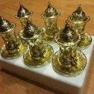 Gold tea set turkish tea glasses coffee cups Turkish glasses mug ottoman art 3