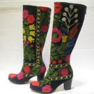 Suzani boots handmade shoes embroidery shoes Turkoman boots velvet shoes 26