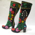 Suzani boots handmade shoes embroidery shoes Turkoman boots velvet shoes 25