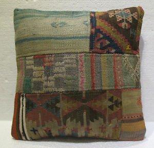 Antique Decorative Couch Throw Pillow Turkish Kilim Rustic Cushion 18'' (9)