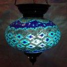 Blue mosaic hanging lamp glass chandelier light lampen handmade candle h 041