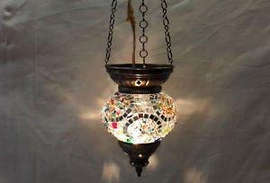Moroccan lantern mosaic hanging lamp glass chandelier light lampen candle n 009