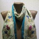 100 % silk scarf shawl vintage silk scarf handmade scarf soft light scarf m 19