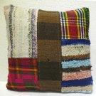 Patchwork nomadic Turkish handmade cecim kilim pillow cushion 18'' (141)
