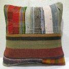Patchwork nomadic Turkish handmade cecim kilim pillow cushion 18.4'' (135)