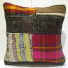 Patchwork nomadic Turkish handmade cecim kilim pillow cushion 18'' (131)