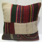 Patchwork nomadic Turkish handmade cecim kilim pillow cushion 18'' (129 )