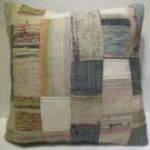 Antique Patchwork Couch Throw Pillow Turkish Kilim Rustic Cushion 26.4'' (k 112)