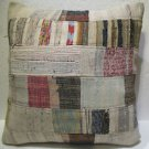 Antique Patchwork Couch Throw Pillow Turkish Kilim Rustic Cushion 27.2'' (k 106)