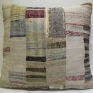 Antique Patchwork Couch Throw Pillow Turkish Kilim Rustic Cushion 26'' (k 117)