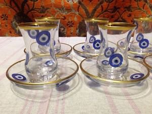 evel eye Turkish tea set tea glasses  glass mug hot tea glasses tribal set 4