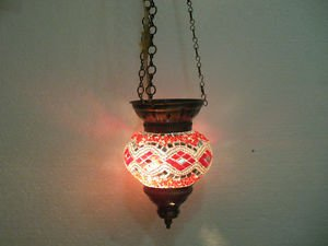 Moroccan lantern mosaic hanging lamp glass chandelier light lampen candle h 072