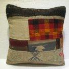 Antique patchwork kelim kissen sofa throw pillow cover tribal rug cushion kod 21