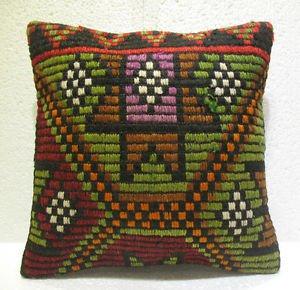 Embroidery Turkish handmade cecim kilim pillow cushion 15.2'' x 15.2'' (114 )