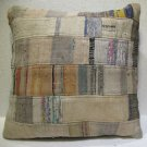 Antique Patchwork Couch Throw Pillow Turkish Kilim Rustic Cushion 25.2'' (k 116)