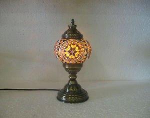 Yellow mosaic glass table lamp tischlampe moroccan lantern lampe mosaique m 21
