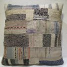 Antique Patchwork Couch Throw Pillow Turkish Kilim Rustic Cushion 26.8'' (ks 99)