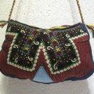 Wine red emroidery fine suzani purse antique Turkish bag vintage purse c 030