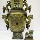 Jade Incense Burner with Foo Dog on Lid (Good Feng Shui)