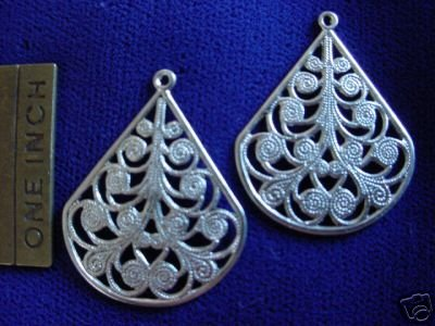 12 PC Vintage 1940 Tool Filigree Lg Scroll Antique Silver Earring-Bead Findings Lot 2-1
