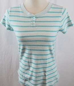 Kim Rogers Short Sleeve Striped Blue Top