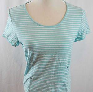 Liz Claiborne Short Sleeve Striped Blue Top