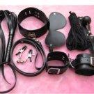 7pcs Black Bondage Set Bdsm Fetish Collar Whip Rope Ball Mask Handcuff Sex Toy