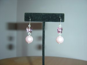 HANDMADE SWAROVSKI PINK BUTTERFLY CRYSTALS WITH GLASS PEARL EARRINGS