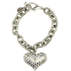 BRAND NEW TARINA TARANTINO CRYSTAL AND LUCITE HEART CHARM BRACELET **FREE US SHIPPING**
