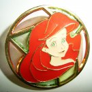 Japan Disney JDS ARIEL LITTLE MERMAID Stained Glass Circle Pin ~Rare~